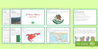 All About Mexico Fact Cards - History, Social Studies, Geography, Mexico, Mexico City, Aztecs, Ancient Civilizations, KS2, Mexican