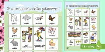 La primavera Vocabolario Illustrato - vocabolario, illustrato, primavera, stagione, stagionale, italiano, italian, materiale, scolastico