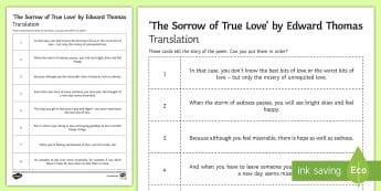 'The Sorrow of True Love' by Edward Thomas LA Translation Activity Sheet - Poetry, GCSE poetry, First World War Poetry, First World War Poets, OCR Anthology, Towards A World U