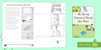 Spring Positional Words Mini Book Activity - Spring, Positional words, color, where, place, location, in, on, out, near