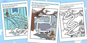 The Snow Queen Pencil Control Path Worksheets - worksheet, path