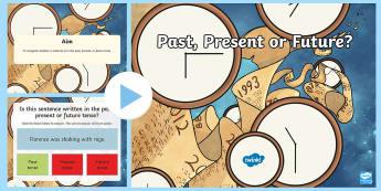 Past, Present or Future Tense Quiz PowerPoint - Past, Present or Future Tense Quiz  PowerPoint, past tense, present tense, future tense, tenses, gra