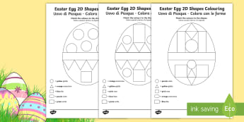 Easter Egg Colour by 2D Shapes Activity Sheets English/Italian - Worksheets, Easter, egg, Easter egg, colour, shape, flat, EAL, Italian, translated, translation, ESL