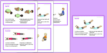 Foundation PE (Reception) - Gymnastic Rolls Support Cards - PE, eyfs, physical development, gymnastics
