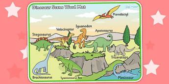 Dinosaur Scene Word Mat - dinosaurs, word mat, keywords, words