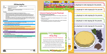 EYFS Coloured Toppings Pancake Playdough Busy Bag Plan and Resource Pack - EYFS, Pancake Day, Shrove Tuesday, February, 28th, playdough, playdoh, play doh, play dough, colours