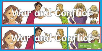War and Conflict Display Banner - wall display, topic, HWB, emotions, feelings,Scottish