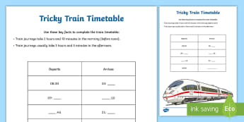 Tricky Timetable Time Activity Sheet - time, timetable, addition, subtraction, mental maths, activity sheet, worksheet,Irish, worksheet