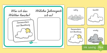 Wetter und Jahreszeiten Poster für die Klassenraumgestaltung - Weather and Season Display Poster - weather and seasons, weather, seasons, display poster, display,