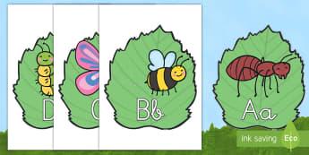 El abecedario en bichos - libélula, abeja, caracol, hormiga, típula, escarabajo, mariposa, oruga, gusano, mariquita, cochini