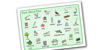 Park Word Mat to Support Teaching on Percy the Park Keeper - percy the park keeper, percy, picture, word mat, mat, writing aid, park, rabbit, fox, acorn, shed, wheelbarrow, mole, owl