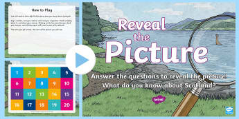 Scotland Trivia Reveal the Picture PowerPoint Activity - ICT, interactive, computer, PPT, quiz, questions, countries, place, Scotland, Scottish, facts, Socia