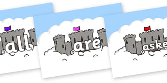Tricky Words on Castles - Tricky words, DfES Letters and Sounds, Letters and sounds, display, words