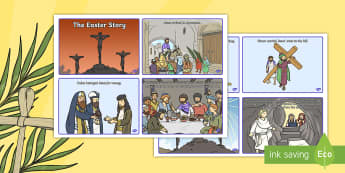 Easter Story Sequencing Shortened 8 Cards - easter, story, cards
