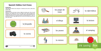 Favourite Hobbies Card Game Spanish - Spanish, KS2, vocabulary, hobbies, favourite, activities, card, game, loop, domino,Scottish