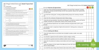 AQA (Trilogy) Unit 5.7 Organic Chemistry Student Progress Sheet