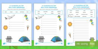 Feuille d'activités : Le vocabulaire de l'été dans l'ordre alphabétique - le vocabulaire de l'été dans l'ordre alphabétique, été, vocabulaire, saisons, vacances, l'é