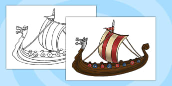 A4 Viking Ship Cut Out KS2 - vikings, history, display, ship, boat