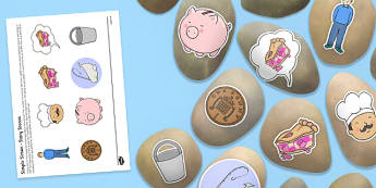 Simple Simon Story Stone Image Cut-Outs - Story stones, stone art, painted rocks, Nursery Rhymes, number rhymes, traditional