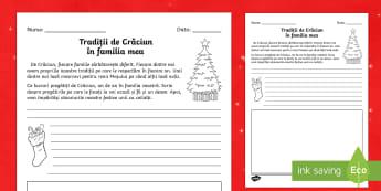 Tradiții de Crăciun în familia mea - Fișă de lucru: citește și desenează  - Crăciun, tradiții, traditii, fișe, fise, română, materiale, sărbători, iarnă, iarna,Romanian