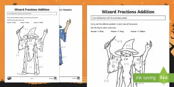 Wizard Fraction Addition Activity Sheet