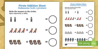 Pirate Addition Sheet English/Polish - Pirate Addition Sheet - pirate, pirates, pirate addition, pirate addition worksheet, pirate counting