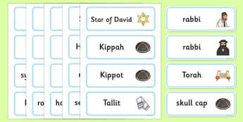 Judaism Word Cards - Religion, faith, word cards, flashcards, synagogue, hannukah, jew, jewish, God, RE, rabbai