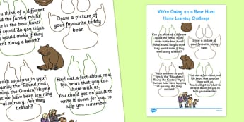 Home Learning Challenge Sheet to Support Teaching on Bear Hunt Nursery FS1