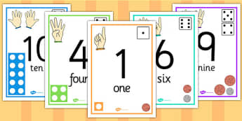 Visual Number Line Posters - count, counting, counting aid, number