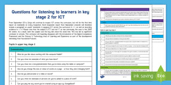 Questions for ICT in KS2 from ESTYN Display Poster - Digital Competence Framework, Year 3, Year 4, Year 5, Year 6, Wales, ICT, ICT in Key Stage 2, Digita