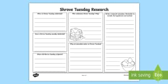 Shrove Tuesday Reseacrh Activity Sheet - Australian Requests, shrove tuesday investigation activity sheet, investigation, research, pancakes,