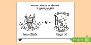 Cluiche Ceannais na hÉireann Colouring Page-Irish