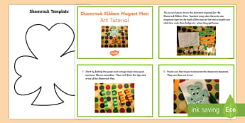 Shamrock Ribbon Man Art Tutorial Step-by-Step Instructions - shamrock, ribbon, shamrock ribbon man, magnet, St.Patrick's Day, art, cutting, sticking, step by st