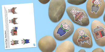 This Little Piggy Story Stone Image Cut Outs - Story stones, stone art, painted rocks, Nursery Rhymes, song