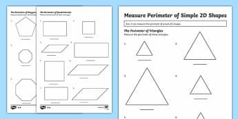 Measuring The Perimeter of Simple 2D Shapes Differentiated Activity Sheets - Year 5, maths, mathematics, numeracy, measurement, perimeter, 2D Shapes