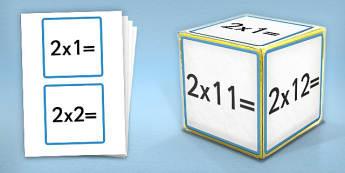 Giant Foam Dice Squares 2 Times Tables - foam dice, squares, 2