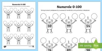 """Scrie """"vecinii"""" numerelor Fișă de lucru - Fun Ideas, idei, matematică, vecini, predecesor, succesor, numere, 0-100, fisa de lucru, resurse, m"""