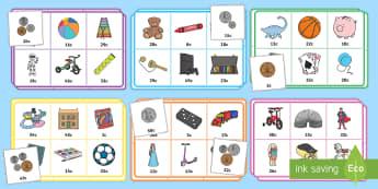 Bingo Y Siop Deganau (at 50c) - mathemateg, arian, rhifedd, siop, bingo, loto,Welsh