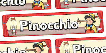 Pinocchio Display Banner - Pinocchio, Geppetto, Blue Fairy, wand, father, boy, puppet, display, banner, poster, sign, puppet show, cat, dog, ears and tail, nose, magic tree, coins, raft, school, son, child, shrink, story, story book, story resources