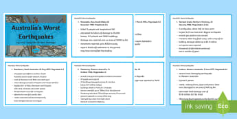 Earthquakes in Australia Fact Cards-Australia - earthquakes, tremors, ACSSU096, geological events, science year 6, science grade 6, Earthquake explo