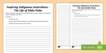 National Reconciliation Week Eddie Mabo Information Report Writing Activity Sheet - Australia English National Reconciliation Week 27 May - 3 June, Year 3, Year 4, Year 5, Year 6, Abor