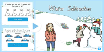 Winter Themed Subtraction PowerPoint - New Zealand, maths, winter, subtraction, powerpoint, Years 1-3, subtract, take away, maths powerpoin