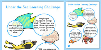 EYFS Under the Sea Home Learning Challenge Sheet Nursery FS1 - under the sea
