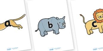 A-Z Alphabet on Safari Animals - Sarafi, Safari Animal, Alphabet frieze, Display letters, Letter posters, A-Z letters, Alphabet flashcards, lion, cheetah, puma, jaguar, rhino, hippo, elephant