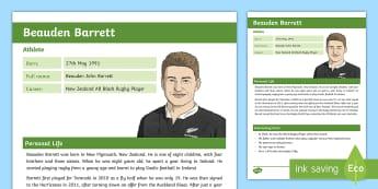Beauden Barrett Fact File - New Zealand Famous People, kiwis, celebrities, role models, famous people, New Zealand, All Blacks,