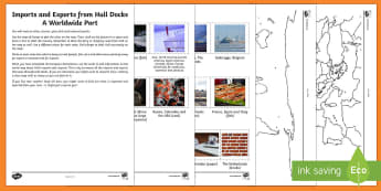 Imports and Exports from Hull City of Culture Activity Sheets - Hull City of Culture 2017, trade, import, export, port, hull, docks, fish, industry, geography, worl