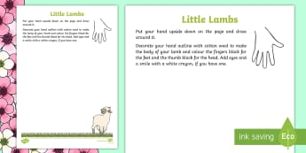 Spring Lamb Craft - NI, Spring, lamb, craft, handprint, cotton wool.