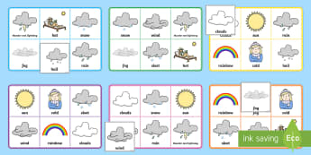 Weather Bingo - Requests KS1, weather, rain, clouds, thunder, lightning, rain, window