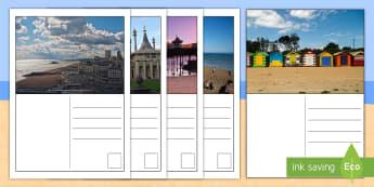 Brighton Postcard Writing Templates - KS1, Key Stage One, Year 1, Year 2, Year One, Year Two, United Kingdom, Seaside, South, Sea, Coast,