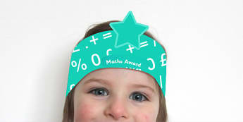 Maths Award Headband - maths, numeracy, awards, reward, head band